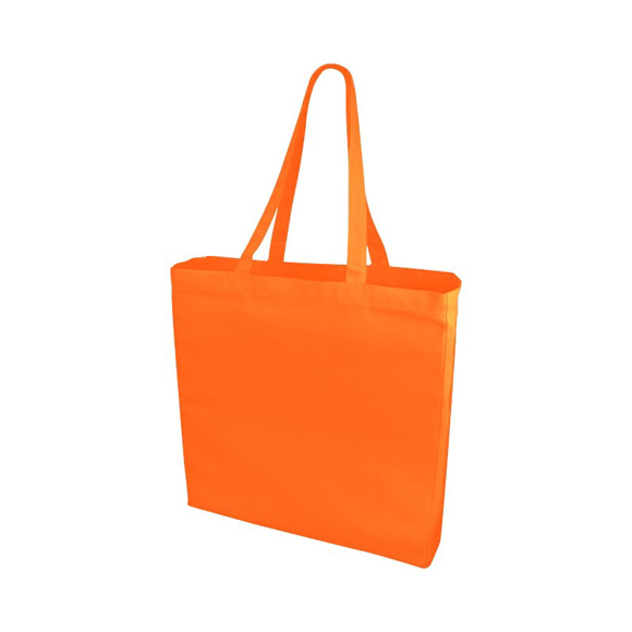 Large orange shopping bag with long handles and gusset