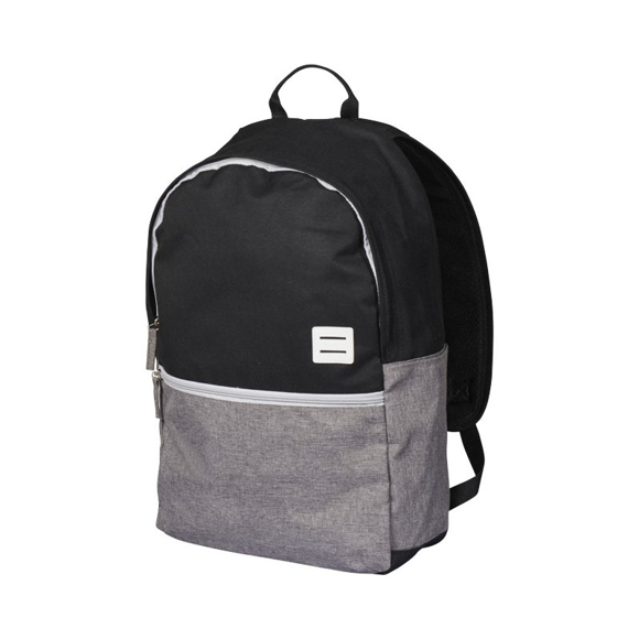 """Oliver 15"""" laptop backpack in black and grey with white details"""