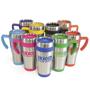silver travel mug with coloured bottom, handle and top