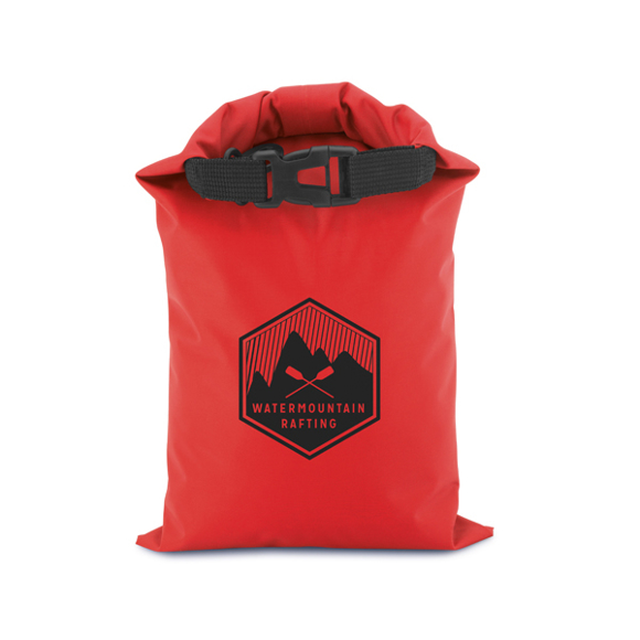 Outdoor medium dry bag in red with 1 colour print logo