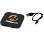Square wireless charging pad in black with a company logo printed on the top