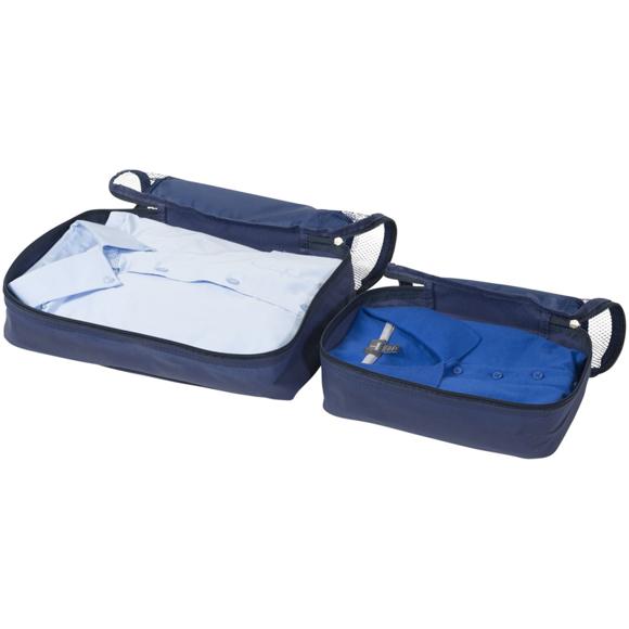 2 open blue packing cubes