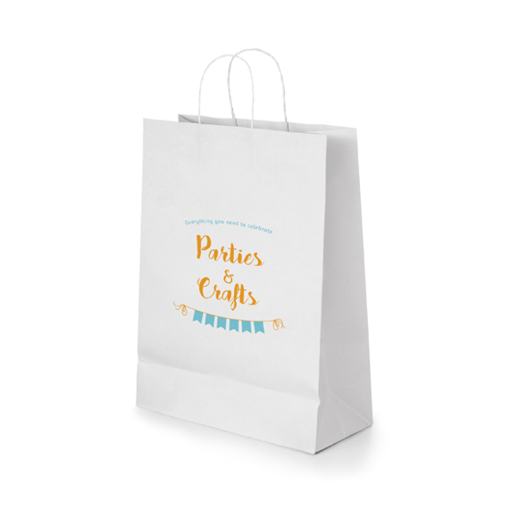Recyclable Paper Kraft shopping bag with rope handles in white with 2 colour print logo