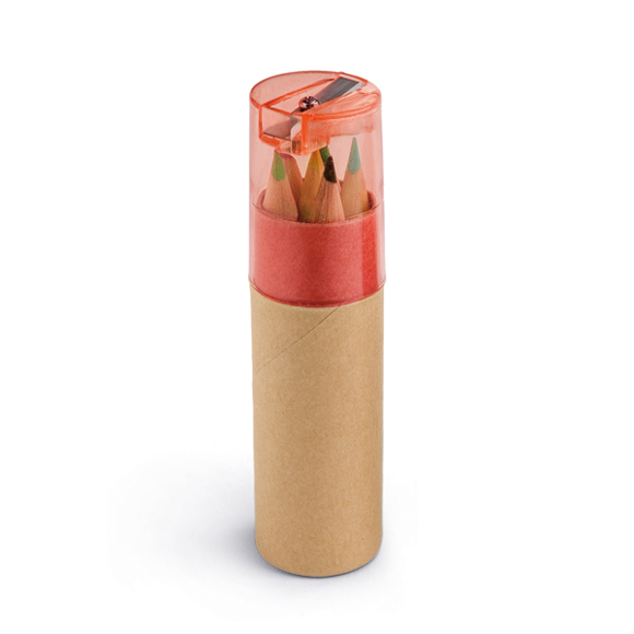 cardboard tube with 6 coloured pencils and red sharpener top