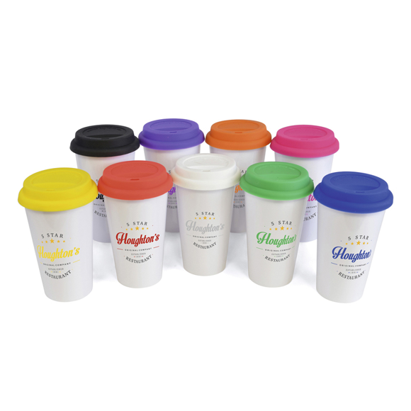 white plastic travel mug with coloured lid and branding