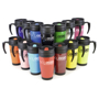 Travel mug with handle in a range of colours