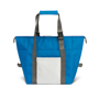 Blue shopper style cooler bag with grey handle trim and white panel on the front