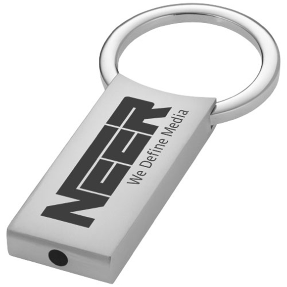 silver rectangular key chain with a 1 colour branding to the front