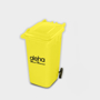 Recycled Wheelie Bin Pen Pot  in yellow with 1 colour print