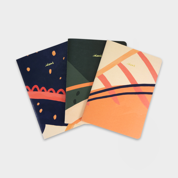 Reporta notebooks with 3 different books and full colour print on each