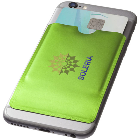 RFID Smartphone Wallet on back of phone in green with full colour print logo