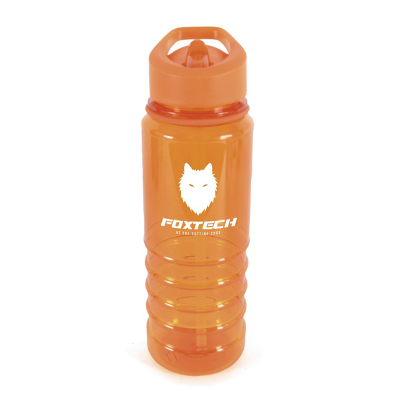 Transparent orange bottle with white corporate logo