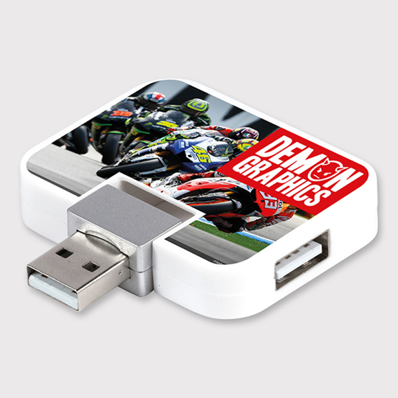 Promotional USB hub with full colour print to the front