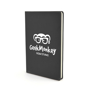 A5 slimline PU notebook in black with 1 colour white print logo