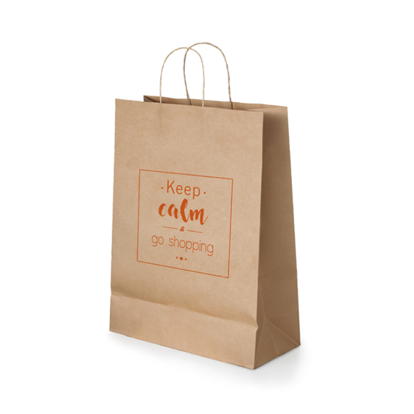 Small sized Kraft paper shopping bag with rope handles in brown with 1 colour print logo