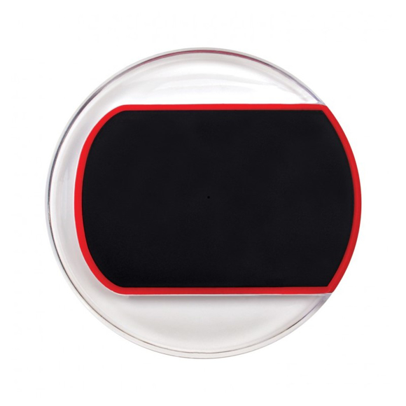 Clear charging pad with black and red central colour