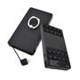 Black wireless power bank, with suction pads and silver ring loop