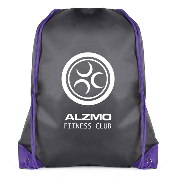 Spencer Drawstring Bag in black with purple corners and string with 1 colour logo
