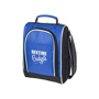 Blue cooler bag with white and black side panels and trim