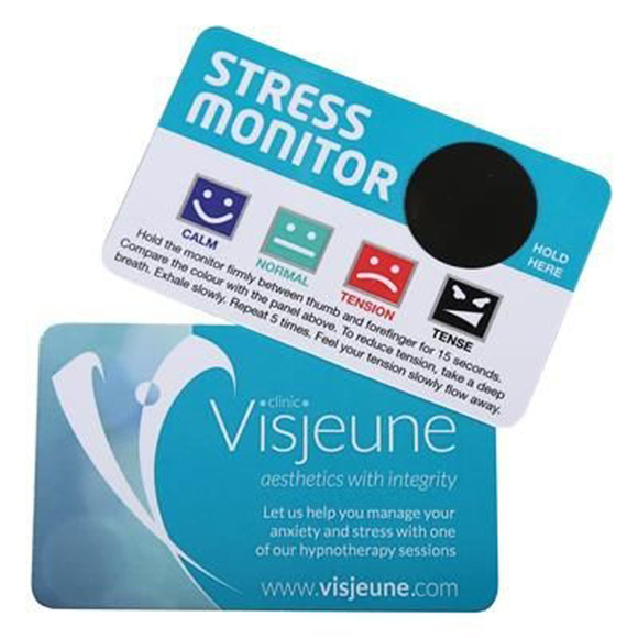 Credit card sized stress monitor with full colour branding on one side and stress gauge on the other