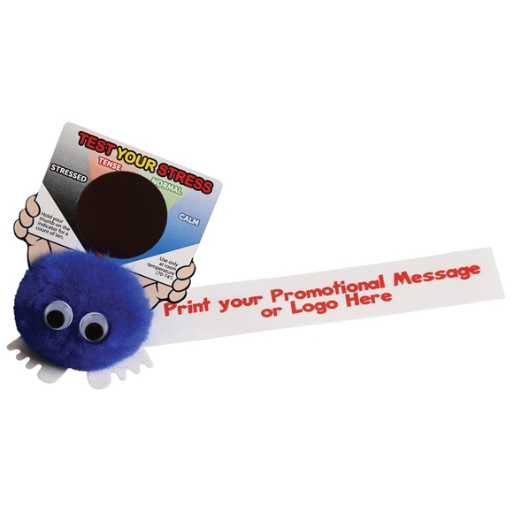 Blue fluffy logobug with printed advertising ribbon, and a stress gauge card