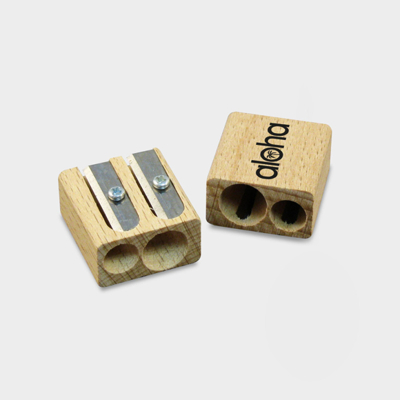 Sustainable double pencil sharpener made of wood with 1 colour print logo