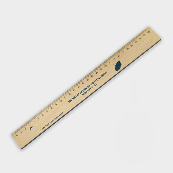 Sustainable Wooden ruler with 1 colour print