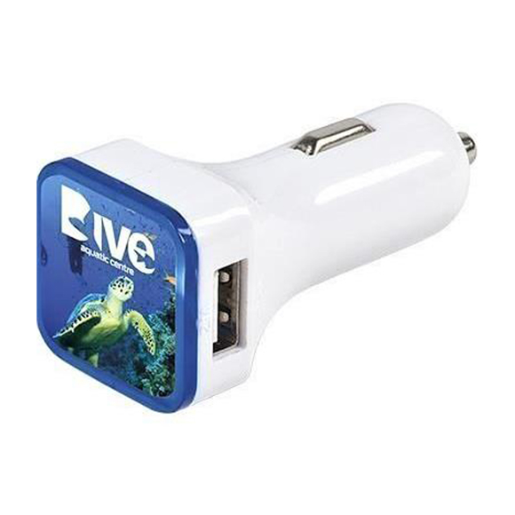 white car charger with branded top