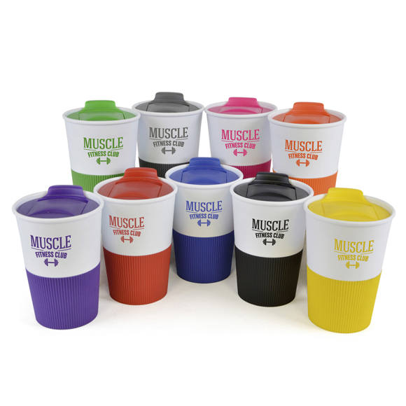 Promotional reusable take out mugs in a range of colours with printed logo