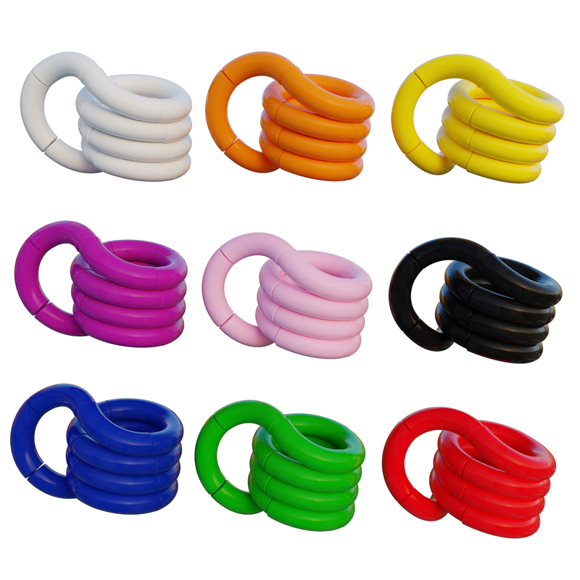 9 tangle toys in different colours