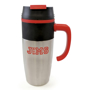 stainless steel tate travel mug with black lid and red handle
