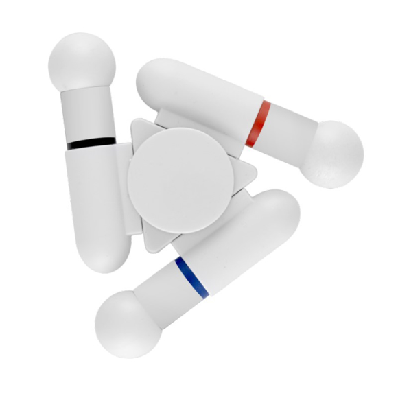 White fidget spinner combined with 3 different pen colours