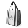 Promotional large black and white bag with handles and print to the front