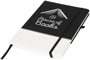 A5 two tone notebook in black and white with stitching detail and black ribbon, elastic closure strap and pen loop with 1 colour white print logo