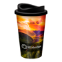 Travel mug tumbler with black lid and full colour wrap print