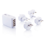 USB Port Travel Plug in white with all attachments