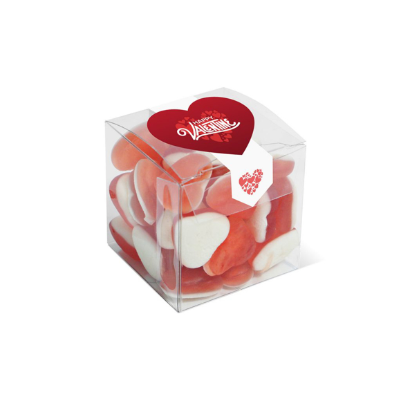 Heart throb sweets in clear cube and sealed with a printed label