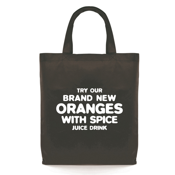 Promotional black shopper bag with large print to the front