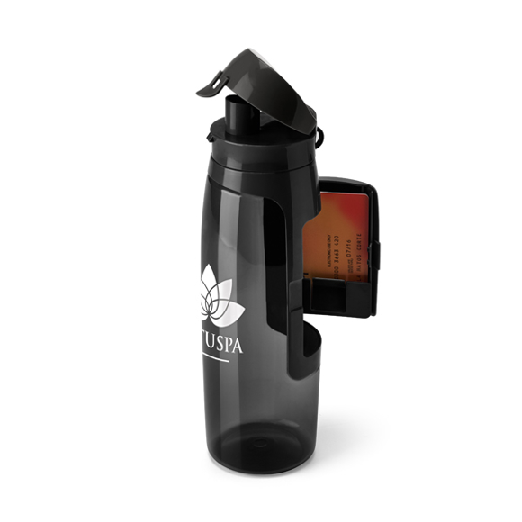 Sports Bottle With Flip Lid and Pop Out Card Holder . Image Showing Black Bottle