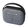 black bluetooth mini speaker with a woven fabric front speaker