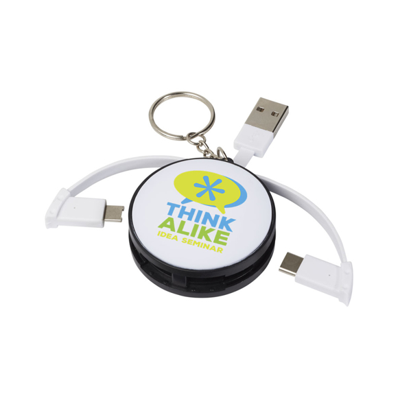 Wrap Around 3-in-1 Charging Cable with Keyring in black and white with 3 colour print