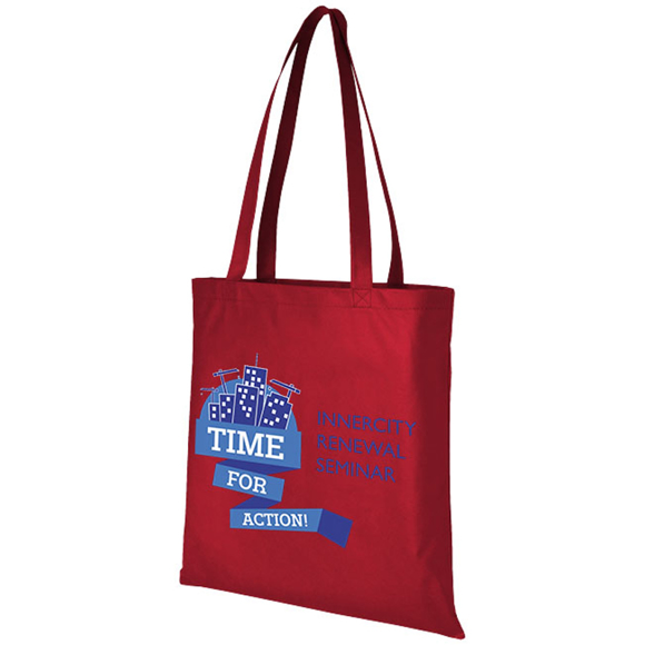 Tote shopping bag with large printing area on the front