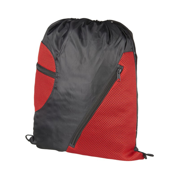 Zipped Mesh Rucksack in black and red