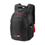 """Felton 16"""" Laptop Backpack in black with red details"""