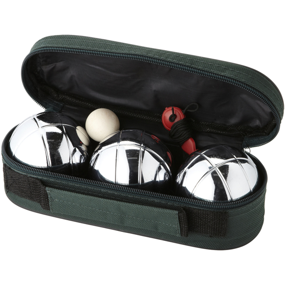 3 Ball Jeu De Boules Set with 3 metal balls, wooden jack and storage pouch and full zip around