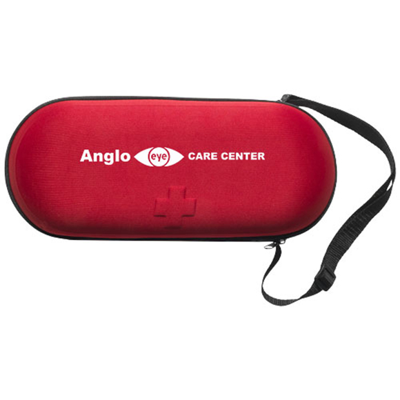 46 piece first aid kit case in red with 1 colour branding