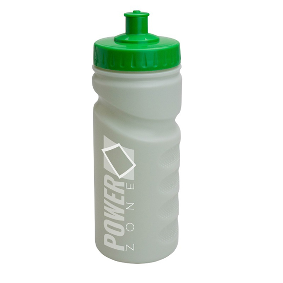 500ml Eco Sports Bottle with finger grips, green lid and 1 colour print logo