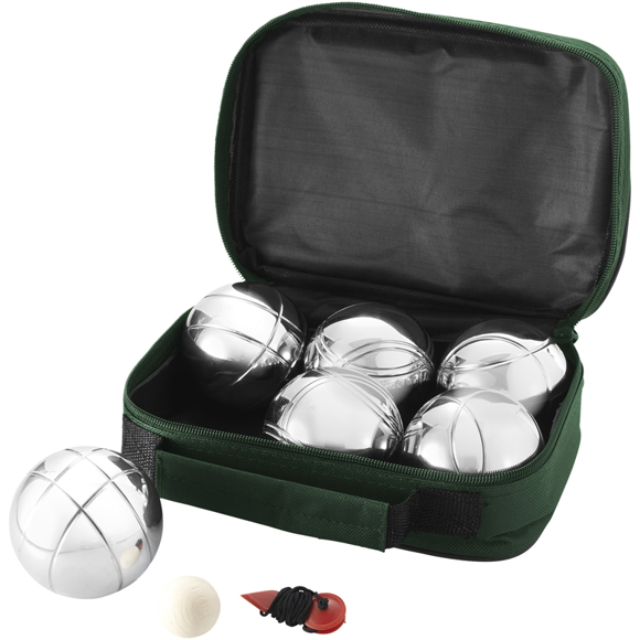 6 Ball Jeu De Boules Set in green with 6 metal balls, 3x2 metal pétanque balls, a wooden jack and measurer in storage pouch