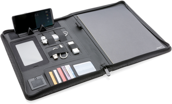 open view of the a4 wireless charging folder with displayed examples of tech