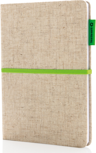 A5 Cotton Notebook in natural with green ribbon, elastic closure strap and label